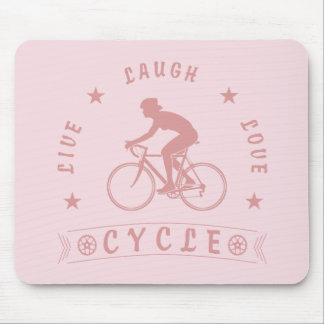 Tapis De Souris Texte de Live Laugh Love Cycle de Madame (rose)