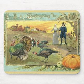 Tapis De Souris Thanksgiving vintage avec des dindes et des