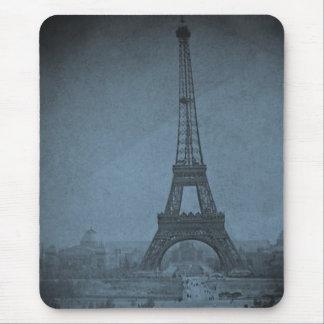 Tapis De Souris Ton cyan vintage de Stereoview de Tour Eiffel