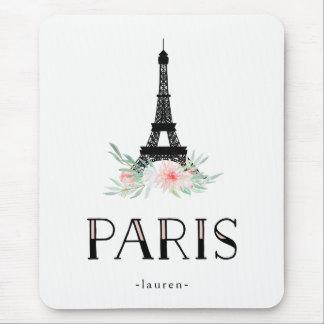 Tapis De Souris Tour Eiffel à la mode et rougissent les fleurs
