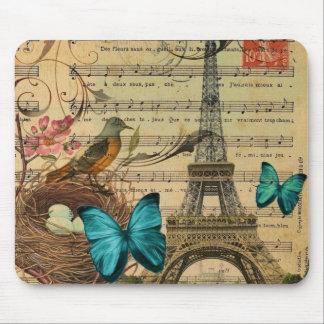 Tapis De Souris Tour Eiffel bleu de Paris de nid d'oiseau de Robin