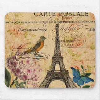 Tapis De Souris Tour Eiffel français de Paris d'oiseau d'hortensia