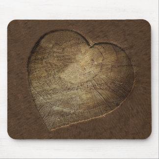 Tapis De Souris Tranche découpée rustique de chêne de coeur