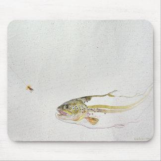 Tapis De Souris Truite chassant la mouche d'un pêcheur