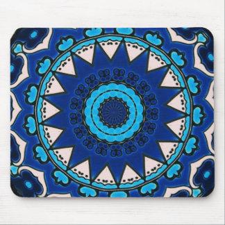 Tapis De Souris Tuile d'Iznik bleue, blanche, et de turquoise,