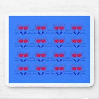 Tapis De Souris Tulipes folkloriques bleues avec le rouge