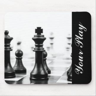 Tapis De Souris Typographie blanche noire d'échecs