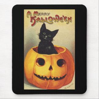 Tapis De Souris Un joyeux Halloween, chat noir vintage en