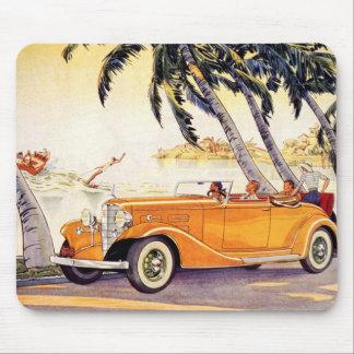 Tapis De Souris Vacances de famille vintages dans une voiture