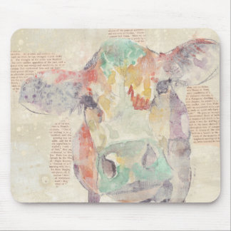 Tapis De Souris Vache à collage de ferme d'aquarelle