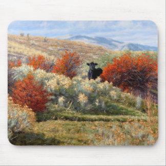 Tapis De Souris Vache dans l'automne plaçant Mousepad