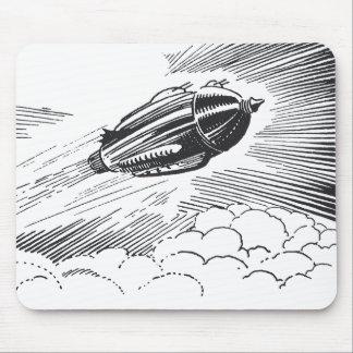 Tapis De Souris Vaisseau spatial vintage Rocket de la