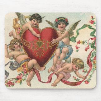 Tapis De Souris Valentines victoriens vintages, coeur d'anges