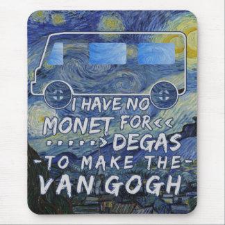 Tapis De Souris Van Gogh Monet dégazent la nuit étoilée de