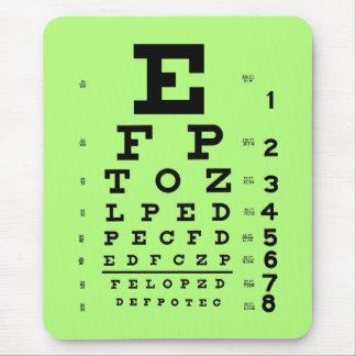 Tapis De Souris Vert médical de diagramme d'oeil d'optométrie