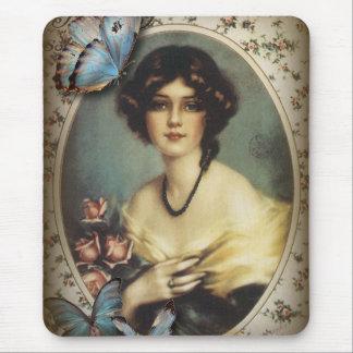Tapis De Souris Victorian parisien de fille de papillon floral