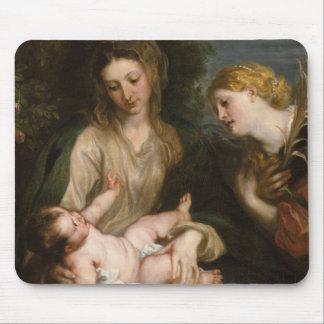 Tapis De Souris Vierge et enfant avec le saint Catherine de