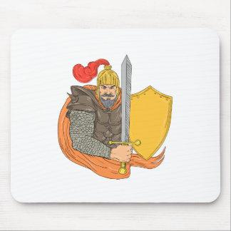 Tapis De Souris Vieux dessin de bouclier d'épée de chevalier