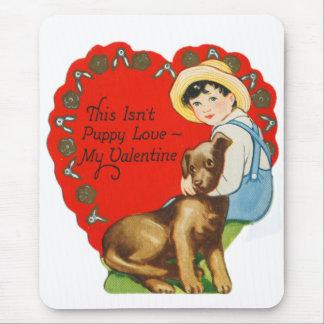 Tapis De Souris Vieux Valentine vintage Little Boy et chiot