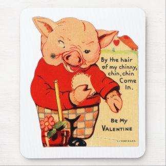 Tapis De Souris Vieux Valentine vintage trois petits porcs
