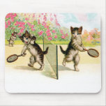 Tapis de souris vintage d'art de chatons de badmin
