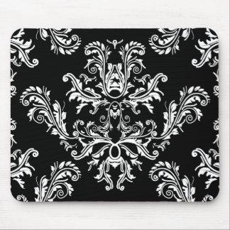 Tapis de souris vintage noir et blanc de damassé