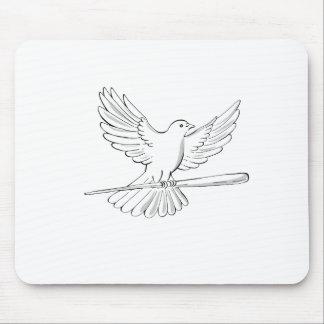 Tapis De Souris Vol de pigeon ou de colombe avec le dessin de