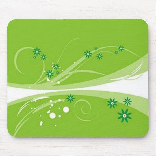 Tapis De Souris Volutes � fleurs sur motif vert -