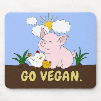 Tapis De Souris Vont le végétalien - porc et poulet mignons