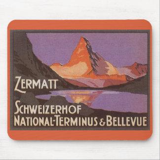 Tapis De Souris Voyage vintage, montagne de Matterhorn en Suisse