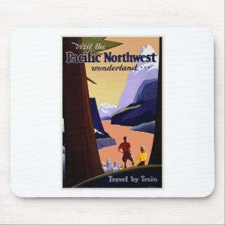 Tapis De Souris Voyage vintage Pacifique du nord-ouest