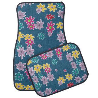 Tapis De Voiture Arrière - plan bleu avec le motif de fleurs coloré