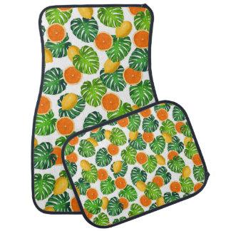 Tapis De Voiture blanc de monstera d'oranges de citrons