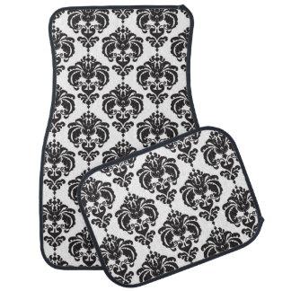 Tapis De Voiture Charme à la mode moderne de motif de damassé noire
