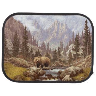 Tapis de voiture d'arrière de paysage d'ours gris