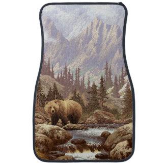 Tapis de voiture d'avant de paysage d'ours gris