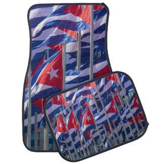 Tapis De Voiture Drapeaux cubains, La Havane, Cuba