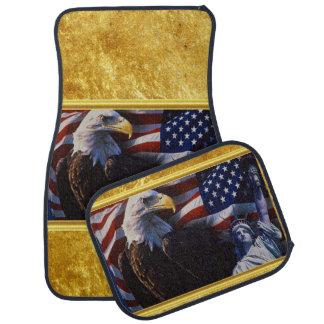 Tapis De Voiture Eagle chauve une statue de la liberté un drapeau