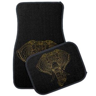 Tapis De Voiture Éléphant noir élégant de tribal de henné de Boho