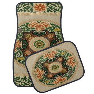 Tapis De Voiture Ensemble vintage de feuille florale de mandala de