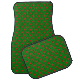 Tapis De Voiture Étoiles de rouge sur l'arrière - plan de vert de