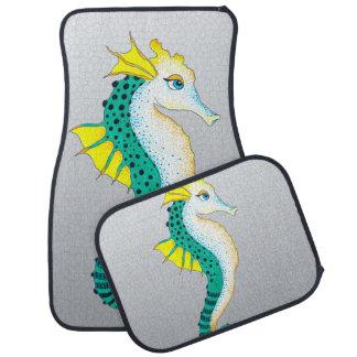 Tapis De Voiture gris turquoise d'hippocampe