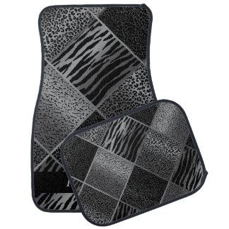 Tapis De Voiture L'animal exotique élégant modèle | gris et noir