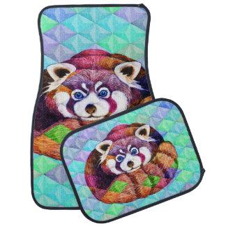 Tapis De Voiture Le panda rouge concernent le cubisme de turquoise