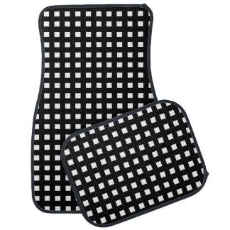 Tapis De Voiture Mini noir de carrés blancs