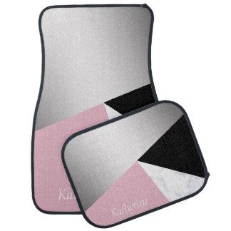 Tapis De Voiture Noir rose de marbre blanc argenté géométrique