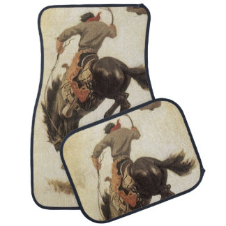 Tapis De Voiture Occidental vintage, cowboy sur un cheval