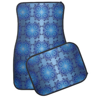 Tapis De Voiture rétro motif bleu baroque floral
