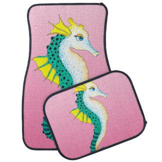 Tapis De Voiture rose turquoise d'hippocampe