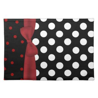 Tapis d'endroit noir, blanc, et rouge élégant de p set de table